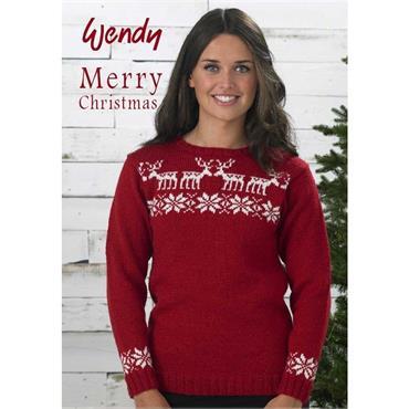 Wendy #5756 Christmas Reindeer DK Sweater   ***