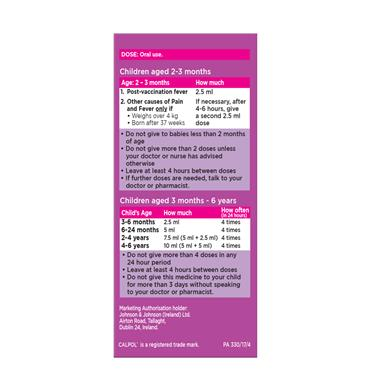 CALPOL 120MG/5ML SUGAR FREE INFANT SUSP SYRINGE 140ml