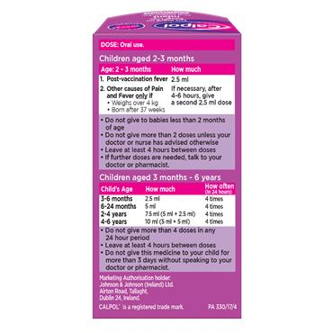 CALPOL 120MG/5ML SF INFANT SUSP SYRINGE 60ML