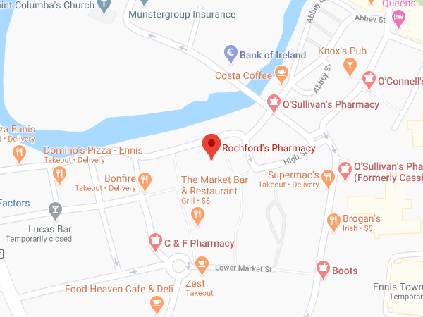 Rochford's Pharmacy Parnell Street Ennis location map