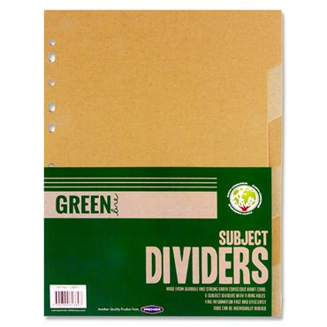 Green Line Kraft Subject Dividers Kraft - 6 Part