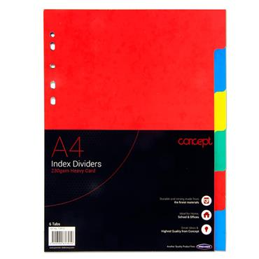 Concept 230gsm Extra Strong Index Subject Dividers - 6 Part