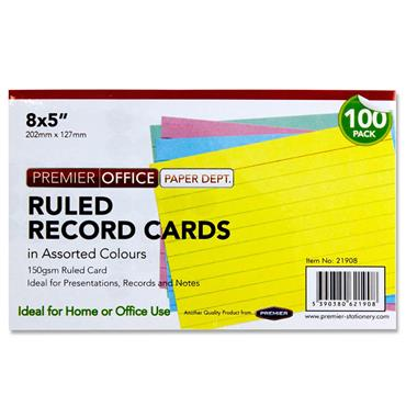 "PREMIER OFFICE PKT.100 8""x5"" RULED RECORD CARDS - COLOUR"