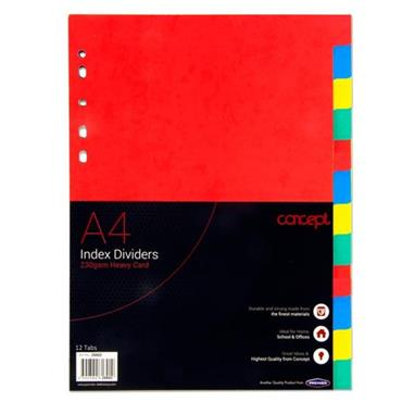 CONCEPT 230gsm EXTRA STRONG INDEX SUBJECT DIVIDERS - 12 PART