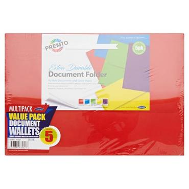 PREMTO PKT.5 EXTRA DURABLE DOCUMENT WALLETS S-1