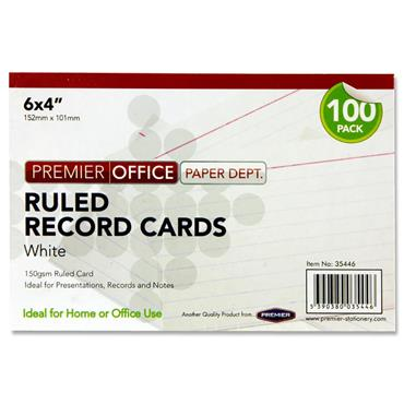 "PREMIER OFFICE PKT.100 6""x4"" RULED RECORD CARDS - WHITE"