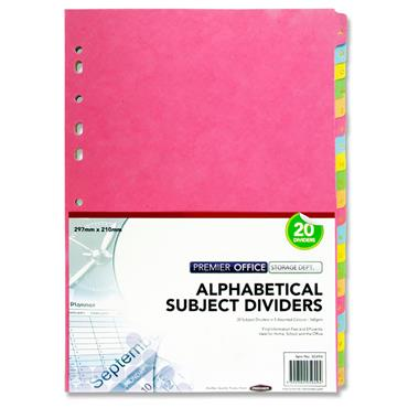 Premier Office 160gsm A-z Subject Dividers - 20 Part