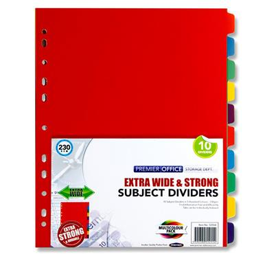 Premier Office Extra Wide 230gsm Subject Dividers - 10 Part