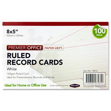 "PREMIER OFFICE PKT.100 8""x5"" RULED RECORD CARDS - WHITE"