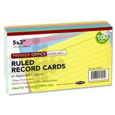 "PREMIER OFFICE PKT.100 5""x3"" RULED RECORD CARDS - COLOUR"
