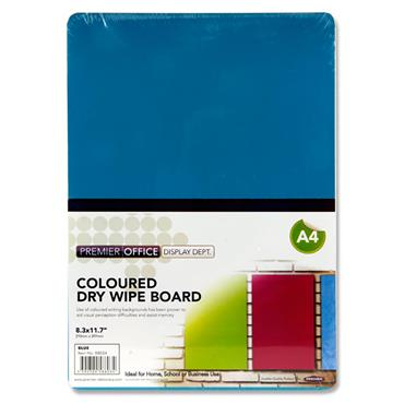 Premier Office A4 Coloured Dry Wipe Board - Blue