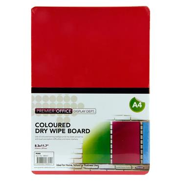 Premier Office A4 Coloured Dry Wipe Board - Pink