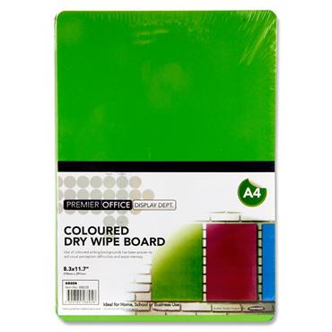 Premier Office A4 Coloured Dry Wipe Board - Green