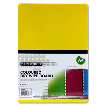 Premier Office A4 Coloured Dry Wipe Board - Yellow