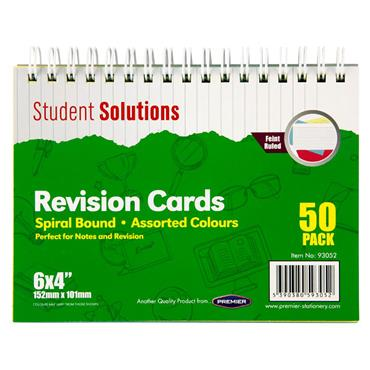 "STUDENT SOLUTIONS PKT.50 6""x4"" SPIRAL REVISION CARDS - COLOUR"