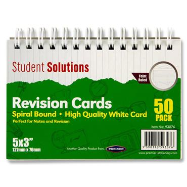 "STUDENT SOLUTIONS PKT.50 5""x3"" SPIRAL REVISION CARDS - WHITE"
