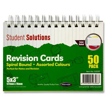 "STUDENT SOLUTIONS PKT.50 5""x3"" SPIRAL REVISION CARDS - COLOUR"