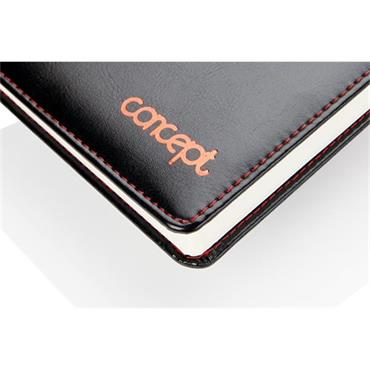 CONCEPT A5 PAGE A DAY UNDATED DIARY - PRESTINE BLACK PU