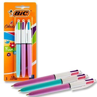Bic Card 3 4 Colour Ballpoint Pens - Fun