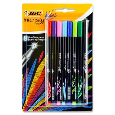 BIC CARD 8 INTENSITY FINE 0.4mm FINELINER PENS