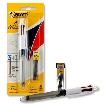 Bic 4 Colour Ballpoint Pen 3 Pens + 1 Hb Pencil - (carded)
