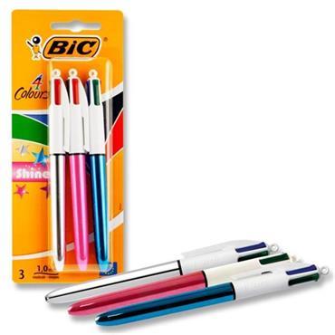 Bic Card 3 4 Colour Ballpoint Pens - Shine
