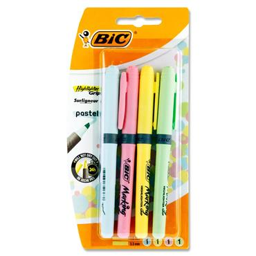 BIC CARD 4 HIGHLIGHTER GRIP HIGHLIGHTERS - PASTEL
