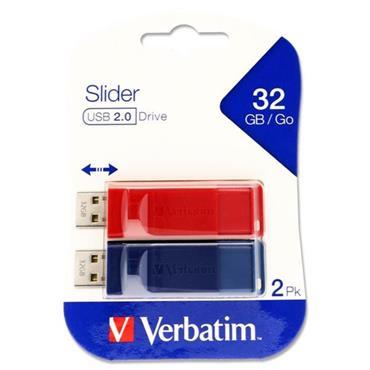 VERBATIM CARD 2 STORE 'N GO USB SLIDER USB 2.0 DRIVE - 32gb