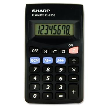 Sharp El-233s 8 Digit Pocket Calculator - Black