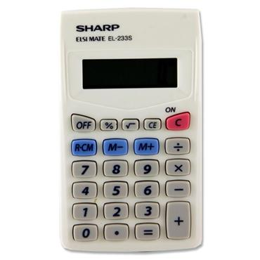 Sharp El233-s 8 Digit Pocket Calculator - White
