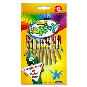 Woc Box 12 Jumbo Triangle Easy Grips Colour Pencils