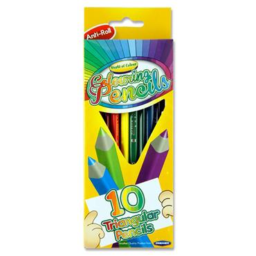 Woc Box 10 Triangular Junior Easy Grip Colouring Pencils