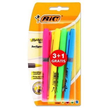 BIC CARD 3+1 GRIP HIGHLIGHTER PENS