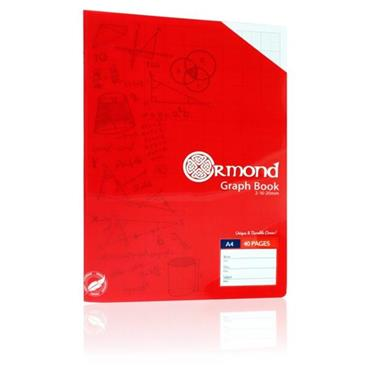ORMOND A4 40pg DURABLE COVER GRAPH BOOK