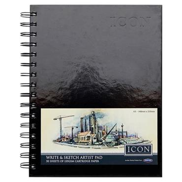 ICON A5 135gsm WIRO HARDCOVER SKETCH PAD 50 SHEETS