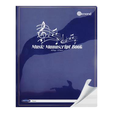 ORMOND 40pg 12 STAVE MUSIC MANUSCRIPT BOOK DURABLE COVER