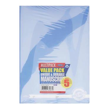 PREMTO PKT.5 A4 120pg MANUSCRIPT BOOK DURABLE COVER - PASTEL 4 ASST.