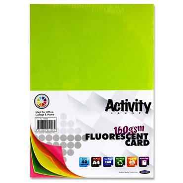 Premier A4 160gsm Activity Card 40 Sheets - Fluorescent