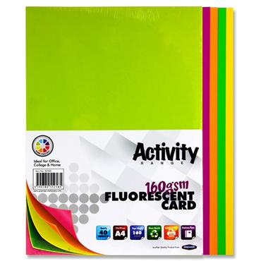 Premier A4 160gsm Activity Card 40 Sheets - Fluorescent