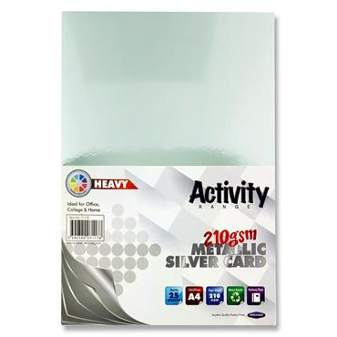 Premier Activity A4 Card 25 Sheets - Silver
