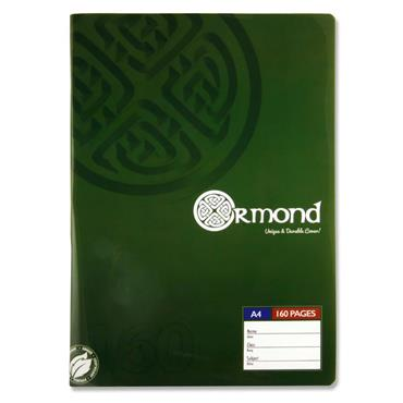 ORMOND PKT.3 A4 160pg MANUSCRIPT BOOK DURABLE COVER