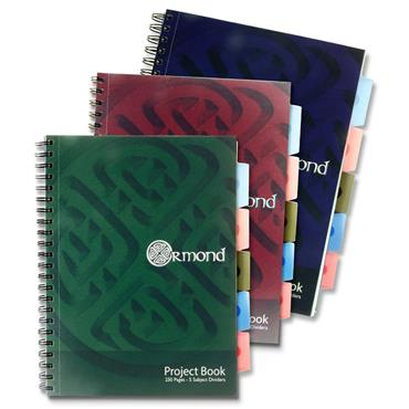 ORMOND A4 250pg PP 5 SUBJECT PROJECT BOOK 3 ASST