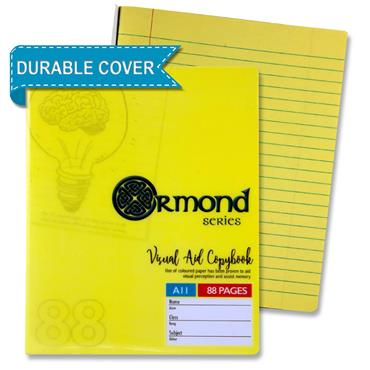 Ormond 88pg A11 Visual Memory Aid Durable Cover Copy Book - Yellow