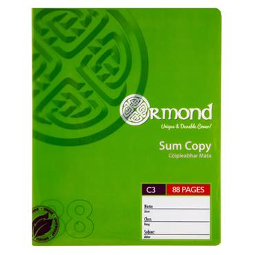 ORMOND 88pg C3 DURABLE COVER SUM COPY BOOK