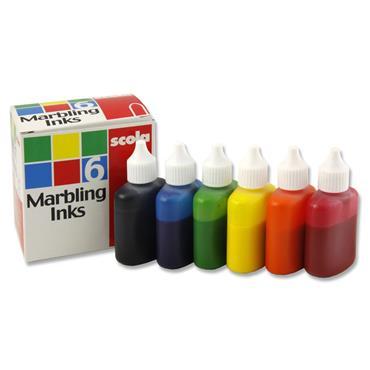 SCOLA BOX OF 6 ASST. 25ml MARBLING INK