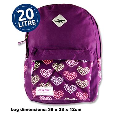 Explore 20ltr Backpack - Purple Hearts Hoop