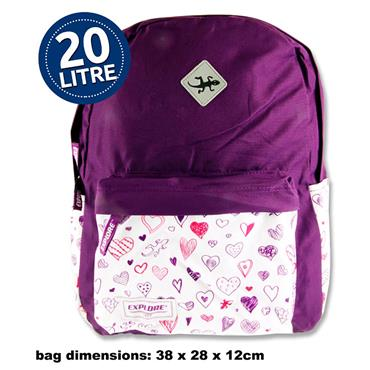 EXPLORE 20ltr BACKPACK - WHITE HEARTS HOOP