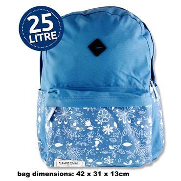Explore 25ltr Backpack - Blue Floral Hoop