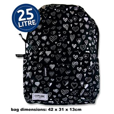 EXPLORE 25ltr BACKPACK - BLACK HEARTS FULL