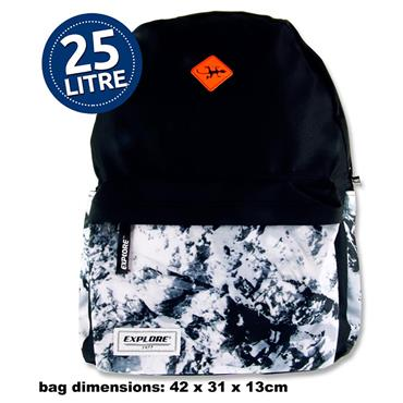 Explore 25ltr Backpack - Black Abstract Hoop